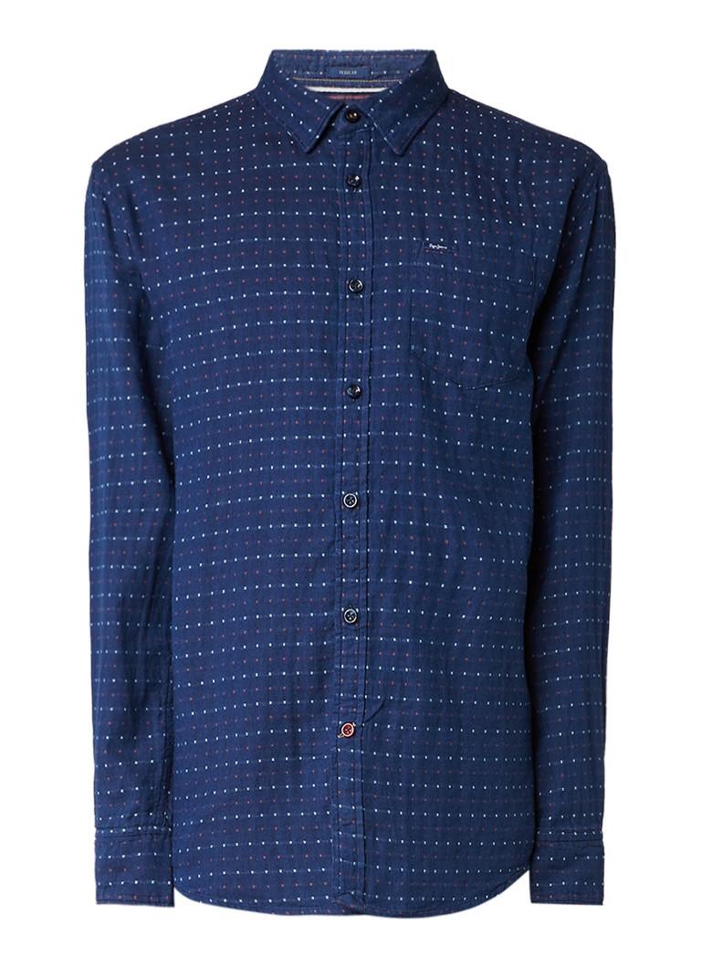 Pepe Jeans Thames regular fit overhemd met ingeweven stippendessin