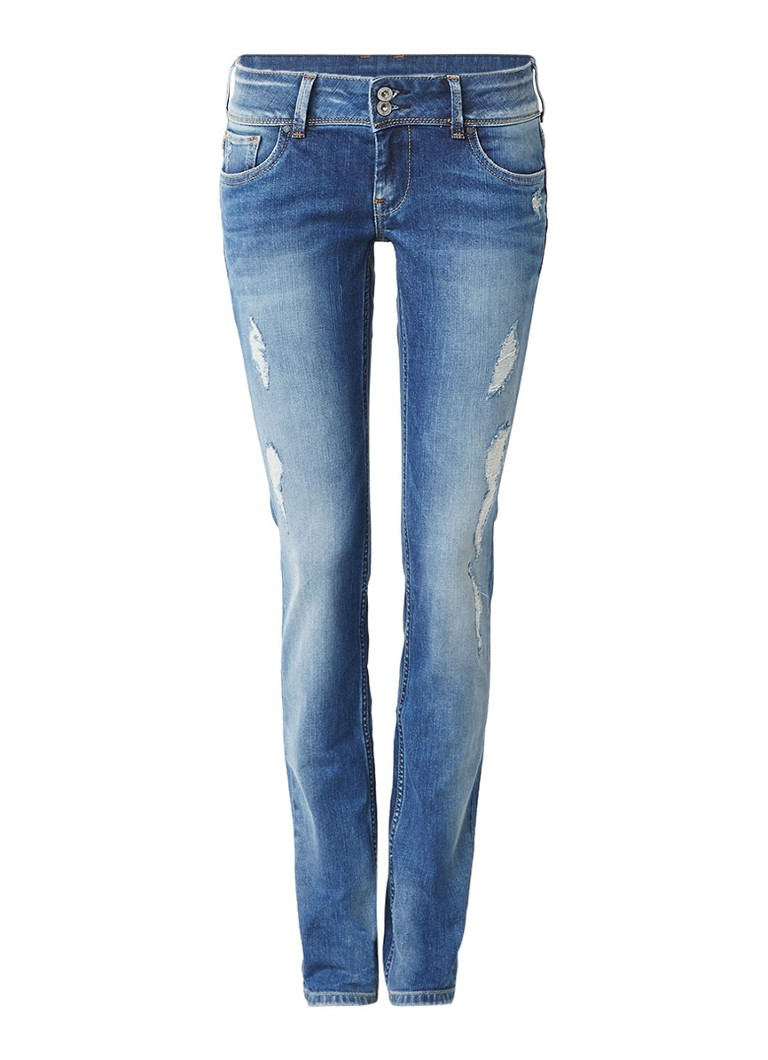 Pepe Jeans Vera low rise slim fit jeans met destroyed details