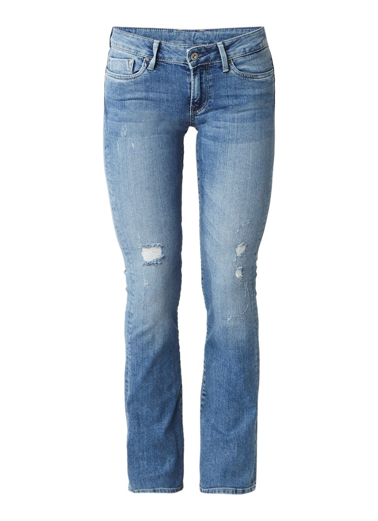 Pepe Jeans Piccadilly mid rise bootcut jeans met destroyed details