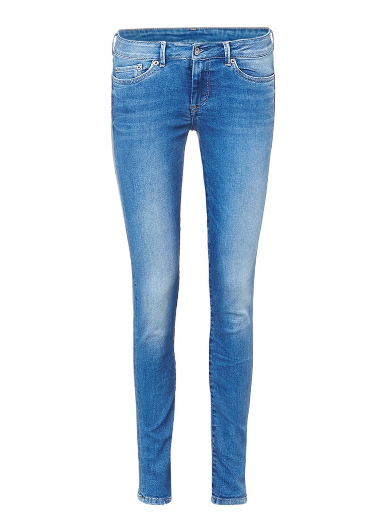 Pepe Jeans Pixie mid rise slim fit jeans met faded finish