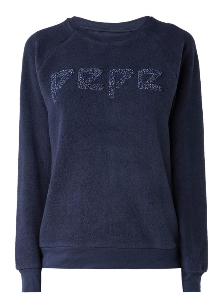 Pepe Jeans Nana trui van fleece met logo flockprint