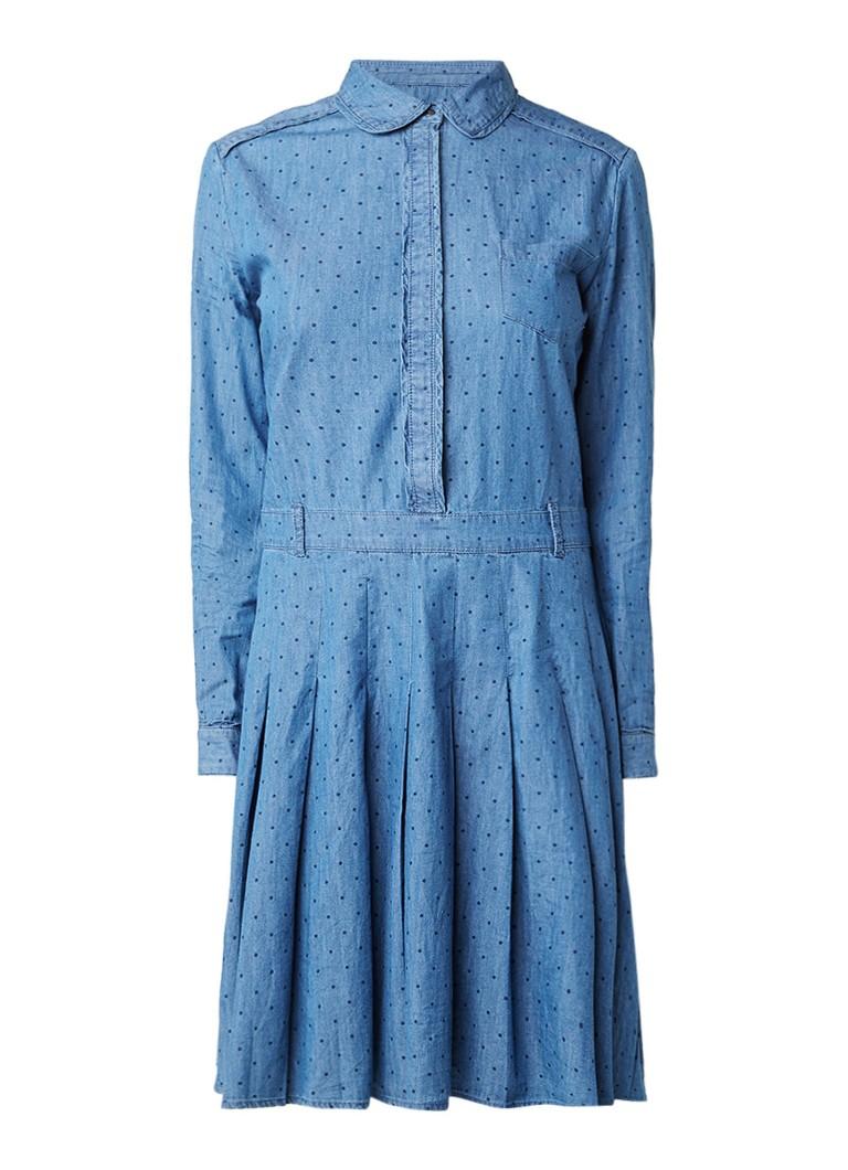 Pepe Jeans Tasia denim A-lijn jurk met gestipt dessin