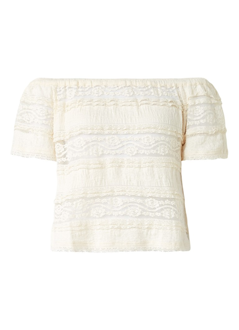 Pepe Jeans Lila off shoulder top van kant