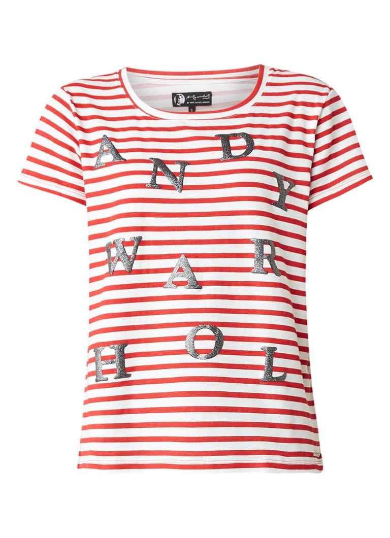 Pepe Jeans Andi gestreept T-shirt met letter opdruk
