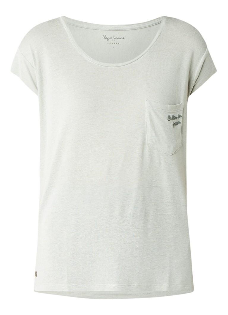 Pepe Jeans Bette T-shirt in linnenblend met borstzak