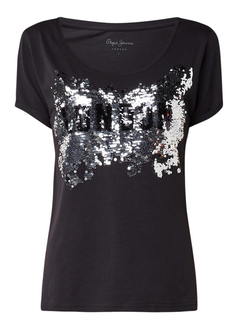 Pepe Jeans Donna T-shirt met pailletten opdruk