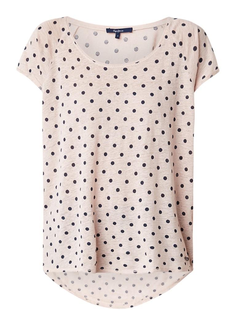 Pepe Jeans Michelle oversized T-shirt met polkadotdessin
