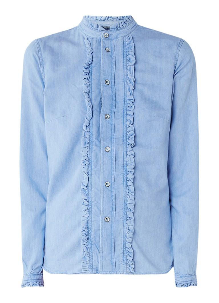 Pepe Jeans Frilly blouse van denim met ruches