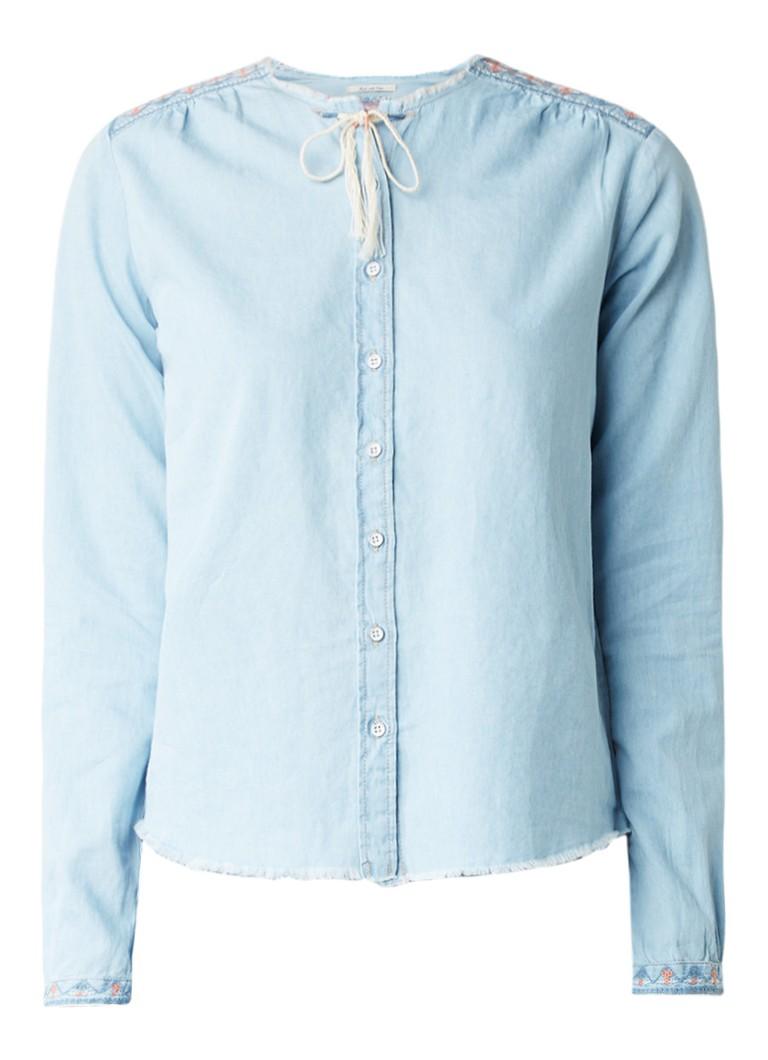 Pepe Jeans Dori denim blouse met borduursels