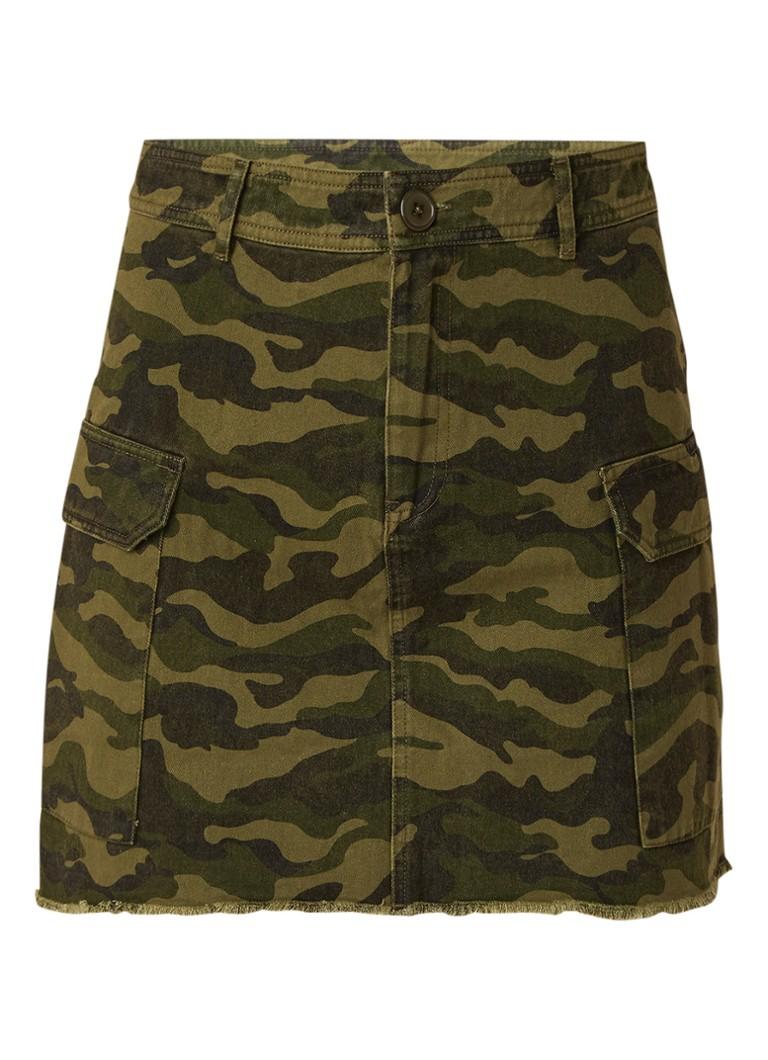 Envii Enperth minirok van katoen met camouflage dessin legergroen