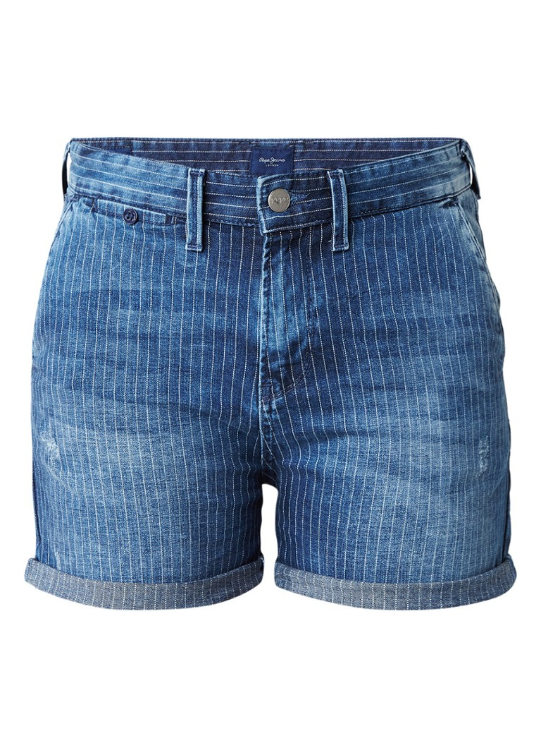 Pepe Jeans Naomie high rise denim shorts met streepdessin