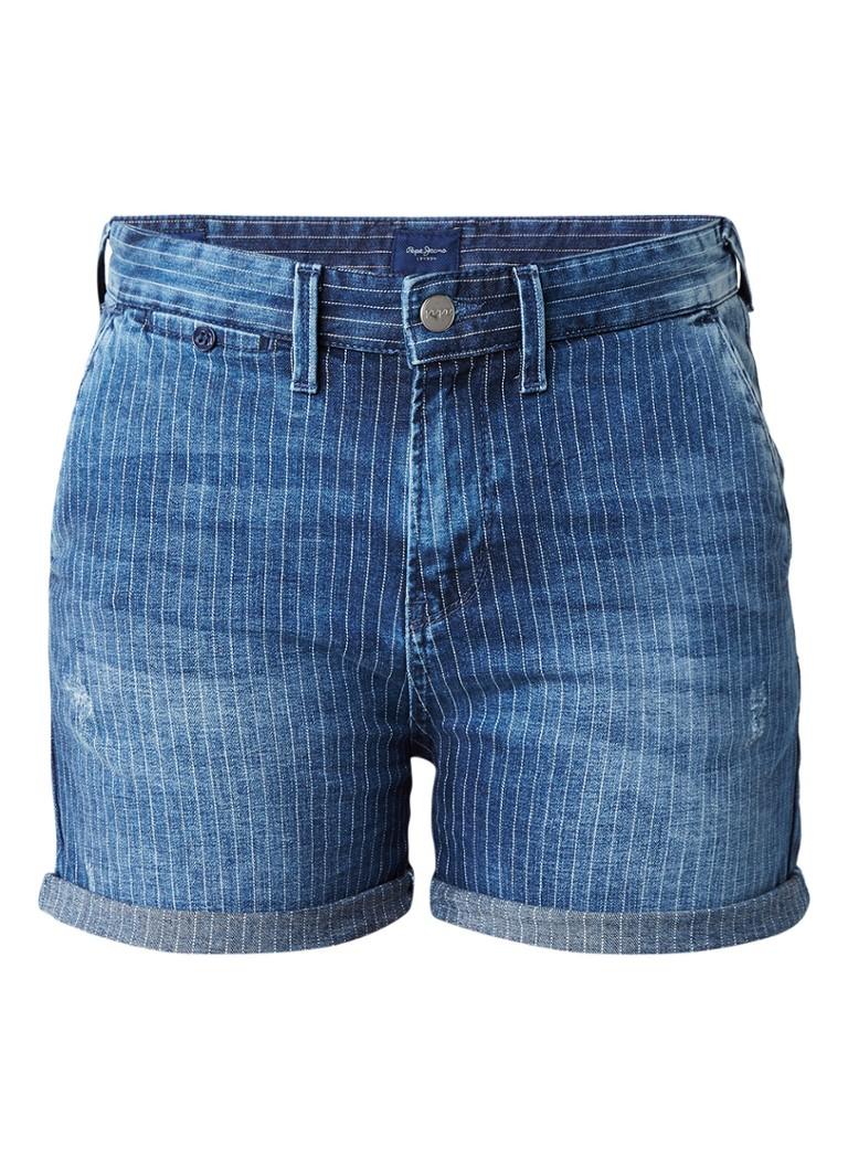Pepe Jeans Naomie high rise denim shorts met streepdessin