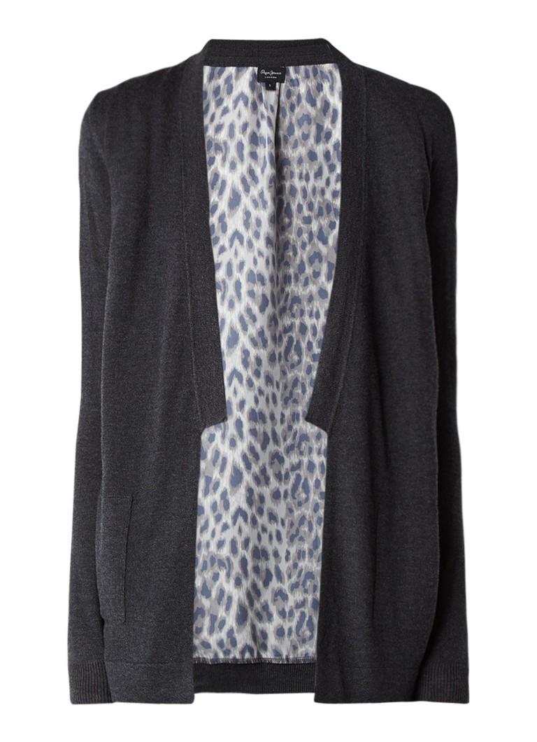 Pepe Jeans Vest met lange mouw en inzet van luipaarddessin