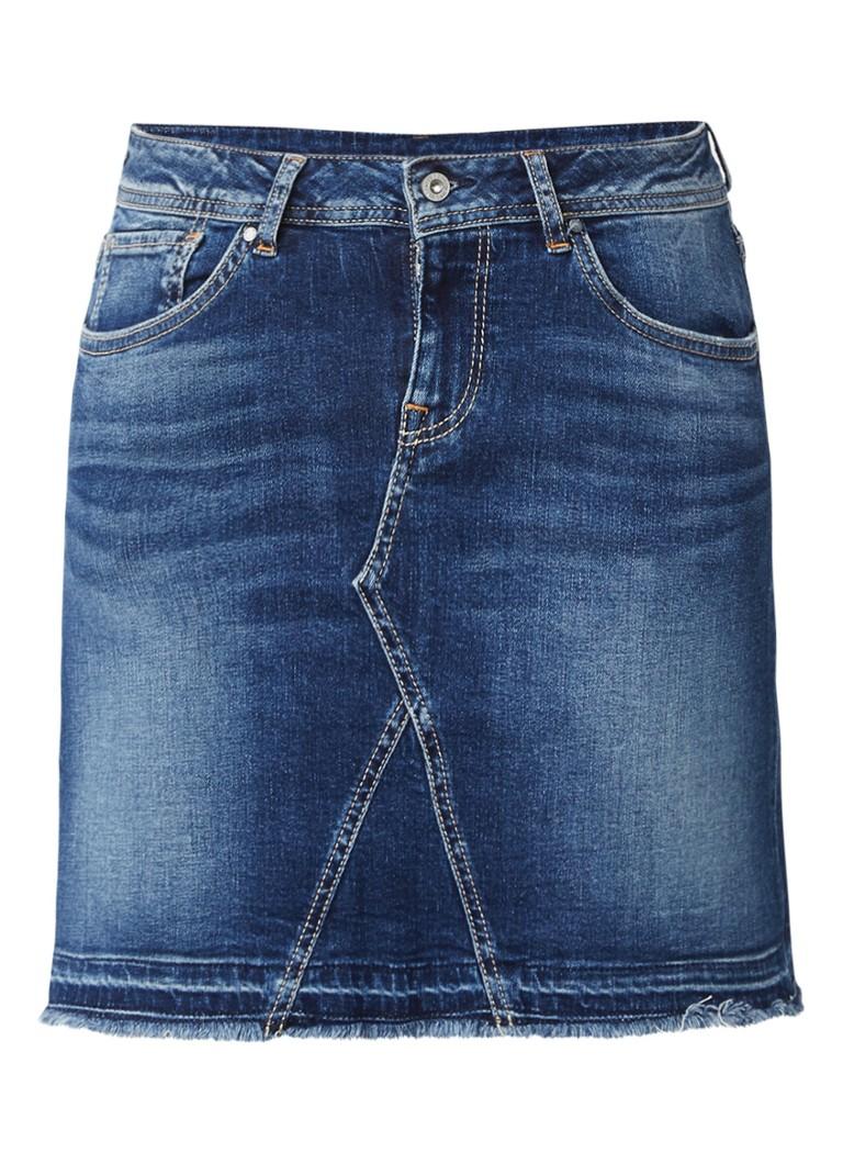 Pepe Jeans Livia spijkerrok met donkere wassing en gerafelde zoom
