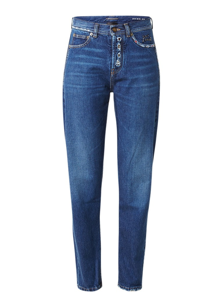 Saint Laurent D19 high rise slim fit jeans met destroyed details