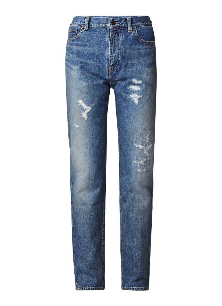 Saint Laurent Mid rise boyfriend jeans met destroyed details