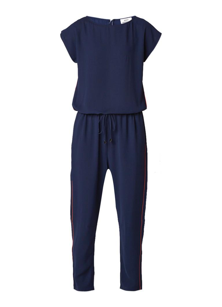 Mads Nørgaard Cavi pipe jumpsuit van crêpe met tunnelkoord en contrastbies