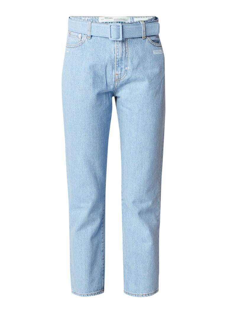 Off-White High rise straight fit cropped jeans in lichte wassing