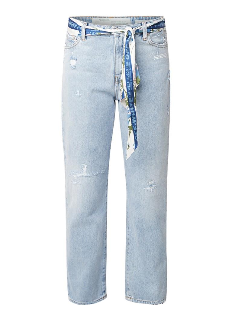 Off-White High rise boyfriend jeans met strikceintuur