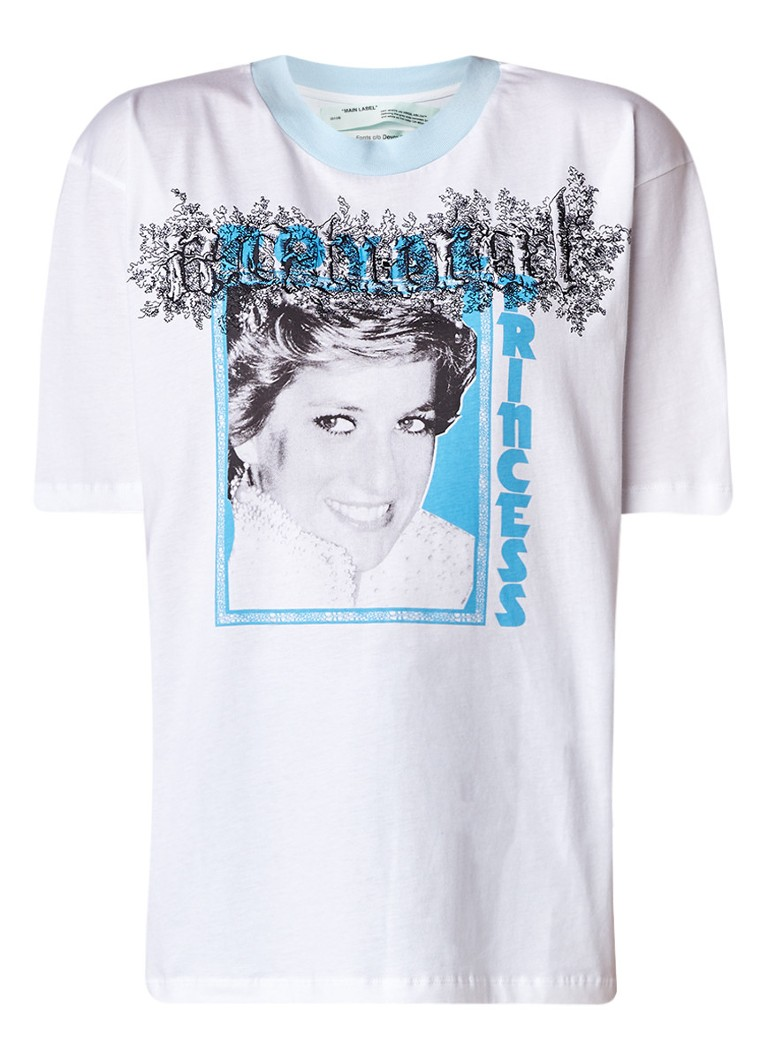 Off-White Tribute 1 T-shirt met Lady Diana print