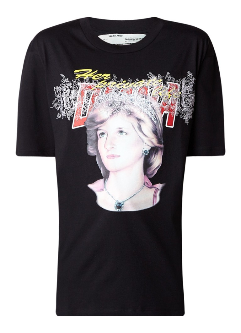 Off-White Tribute 2 T-shirt met Lady Diana print