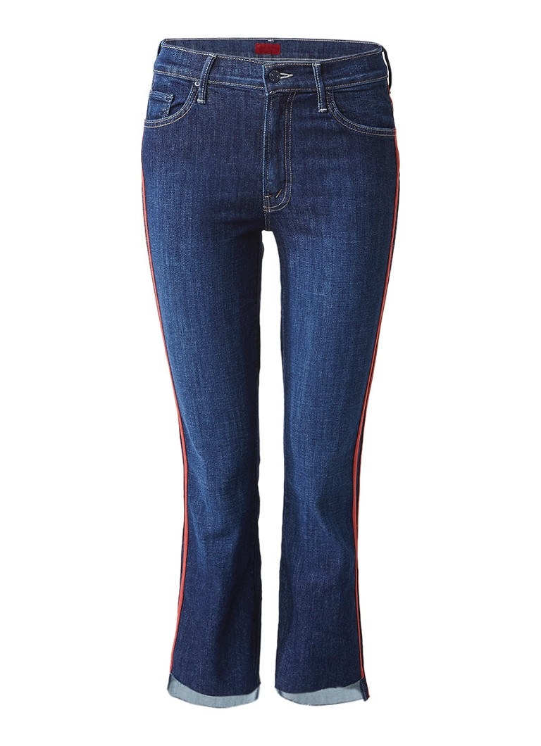 MOTHER Insider Speed Racer high rise straight fit cropped jeans met bies