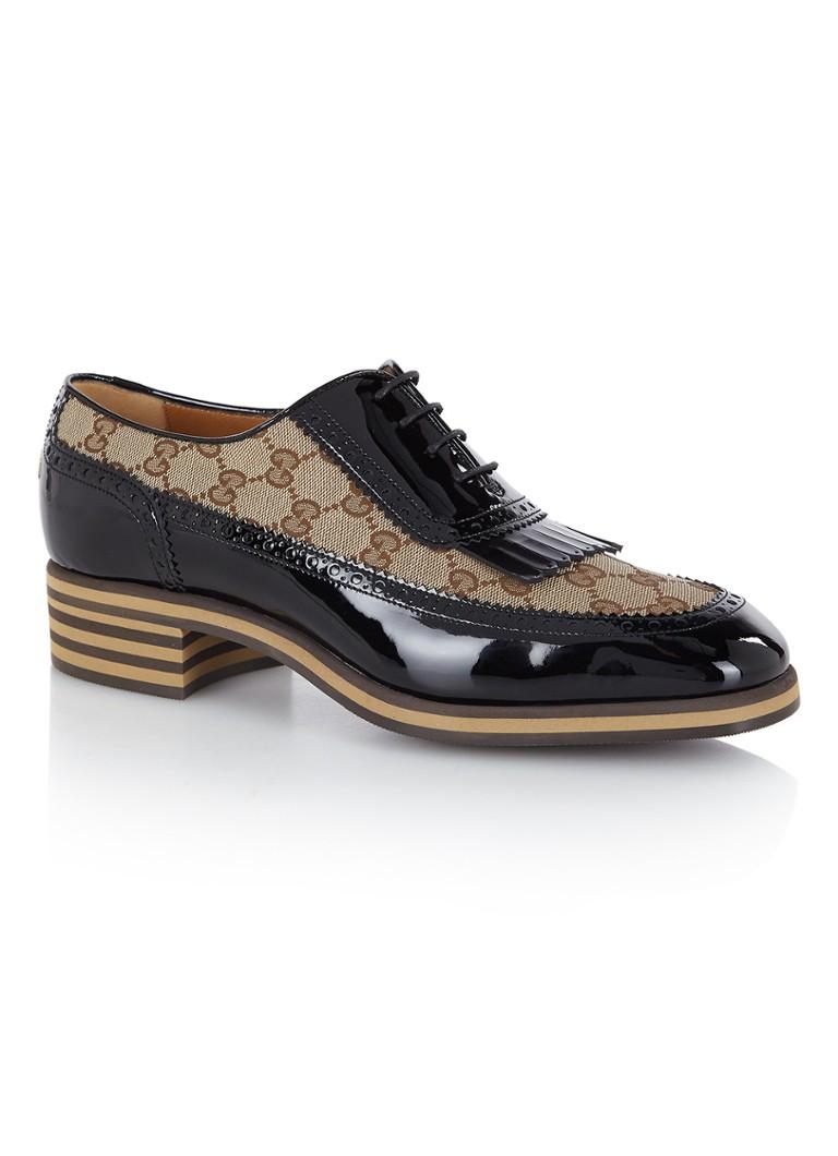 Gucci Thomson loafer van lakleer met Bee en GG Supreme dessin