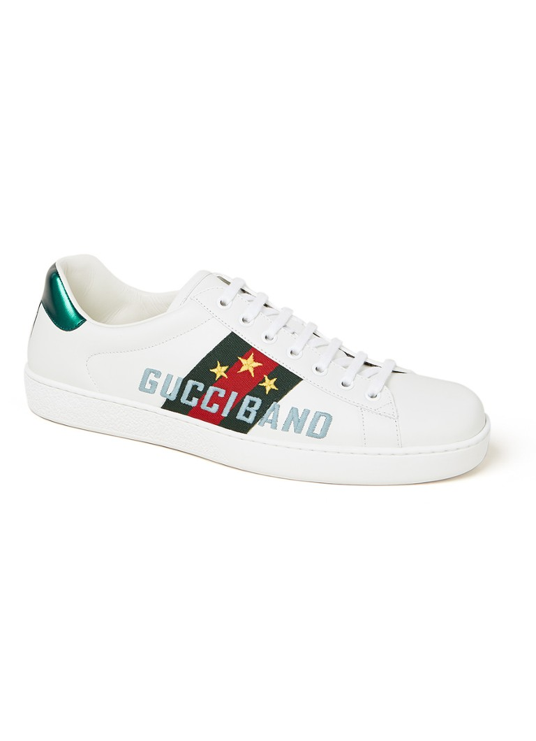 Ace sneaker van leer met logo en streepdetail