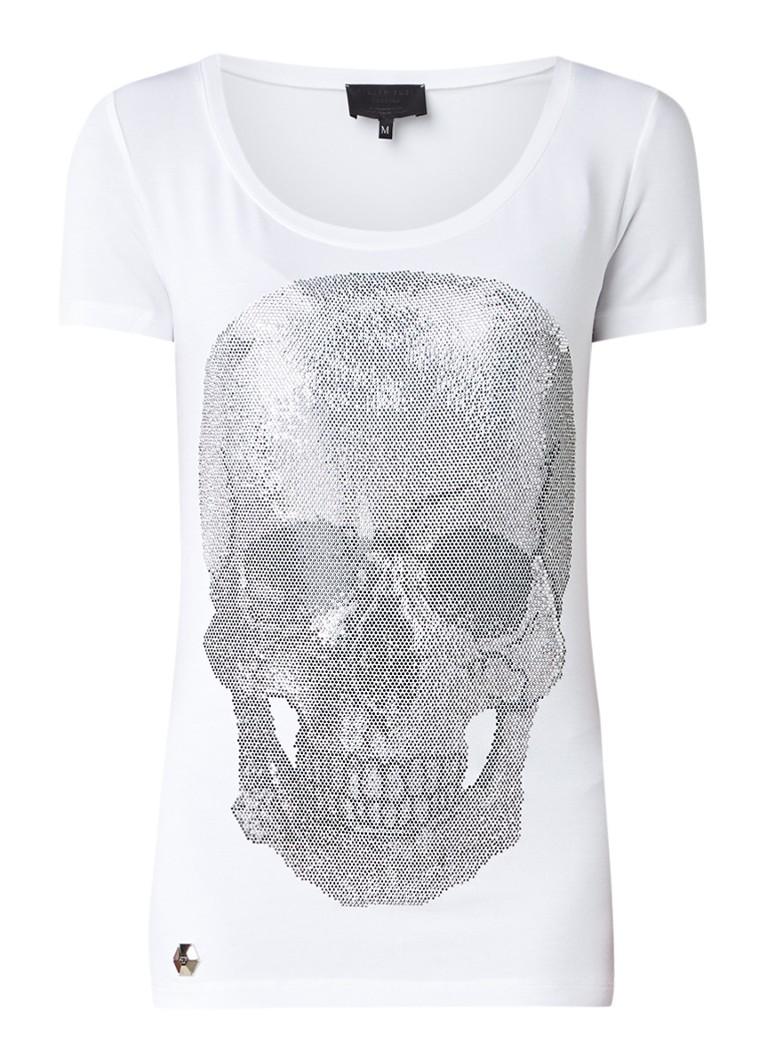 Philipp Plein Metro Love T-shirt met skull van strass