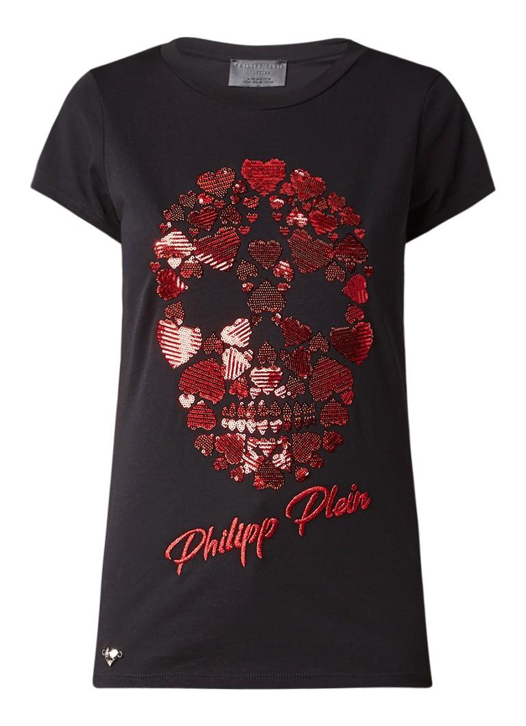 Philipp Plein Albany T-shirt met skull van pailletten