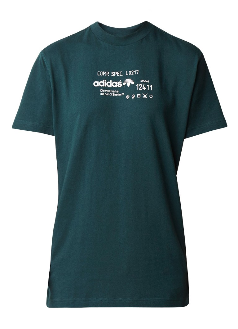 Tops adidas T shirt met opstaande kraag en logoprint Donkergroen