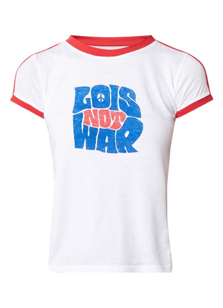 Lois Chica T-shirt met tekstopdruk en contrastboord