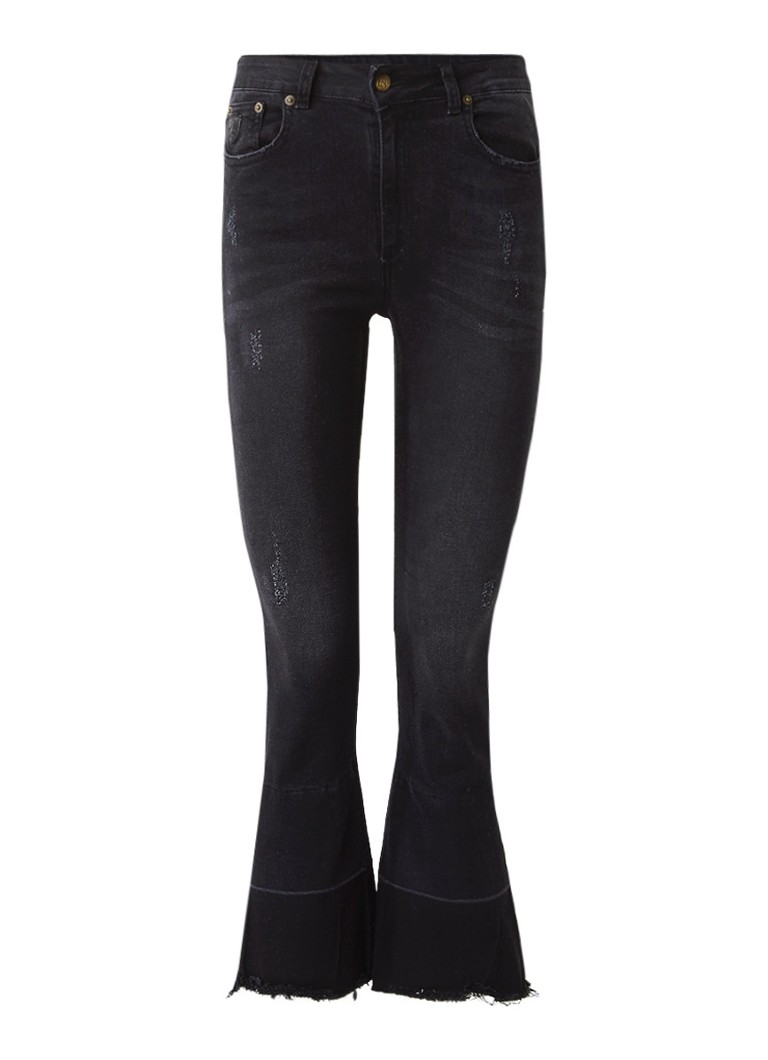 Lois Marbella high rise cropped bootcut jeans met destroyed details