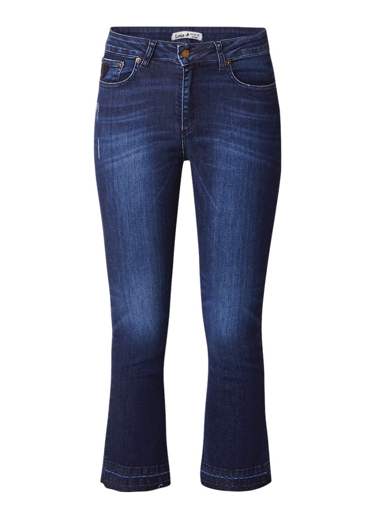 Lois Marbella high rise cropped bootcut jeans met destroyed detail