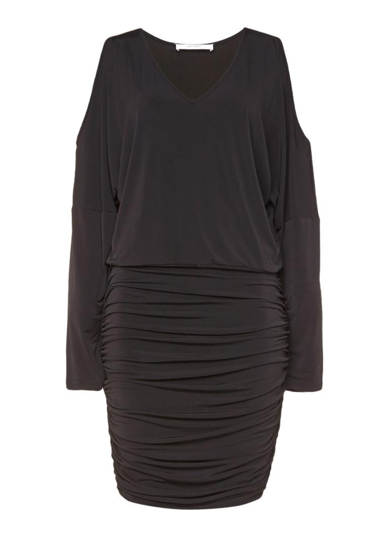 Gestuz Pen gedrapeerde jurk met cold shoulder zwart