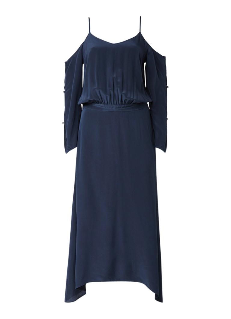 Gestuz Jeannine jurk van zijde met cold shoulder donkerblauw