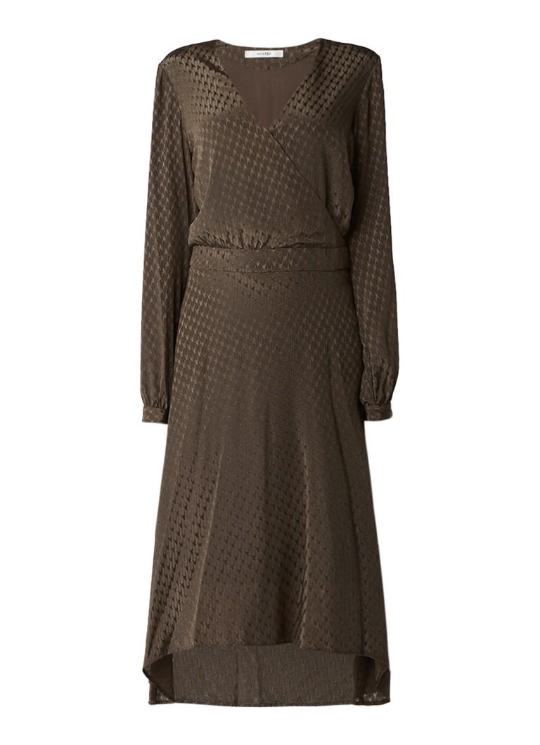 Gestuz Nete jurk met overslag en jacquarddessin olijfgroen