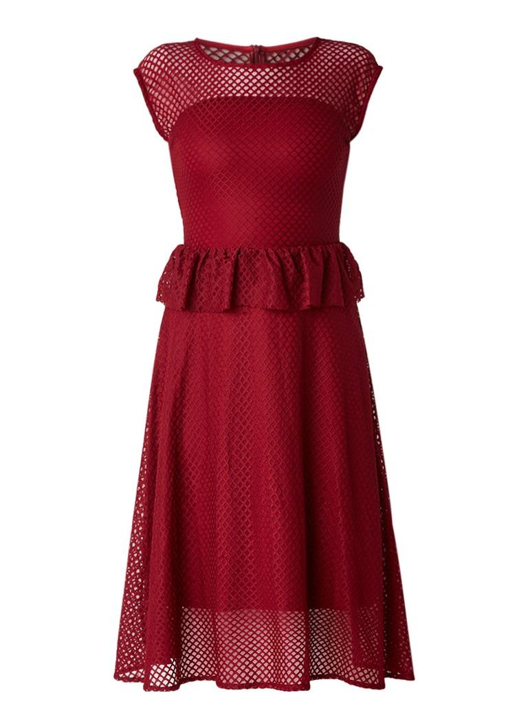 Gestuz Garrie midi-jurk met semi-transparante structuur en peplum bordeauxrood