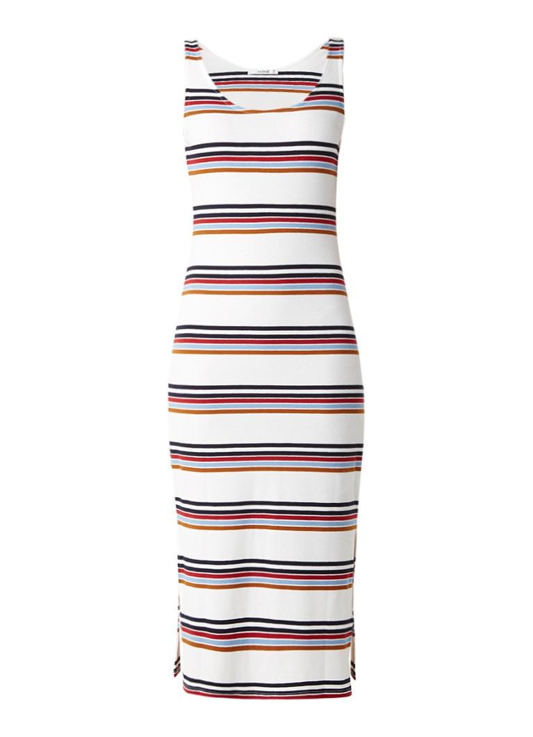 Gestuz Ribgebreide maxi-jurk met streepdessin wit