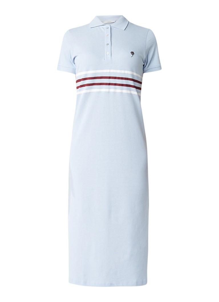 Gestuz Midi-jurk van katoen met polokraag en streepdessin lichtblauw
