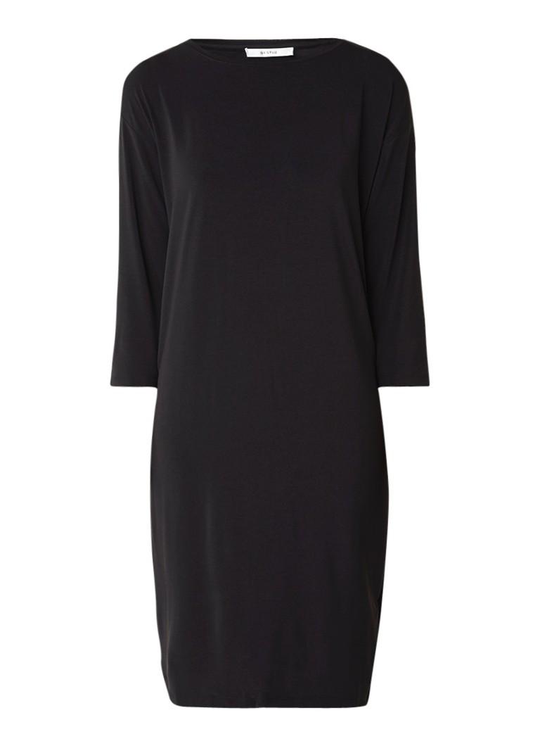 Gestuz Stinna jersey jurk met plooi aan achterzijde zwart