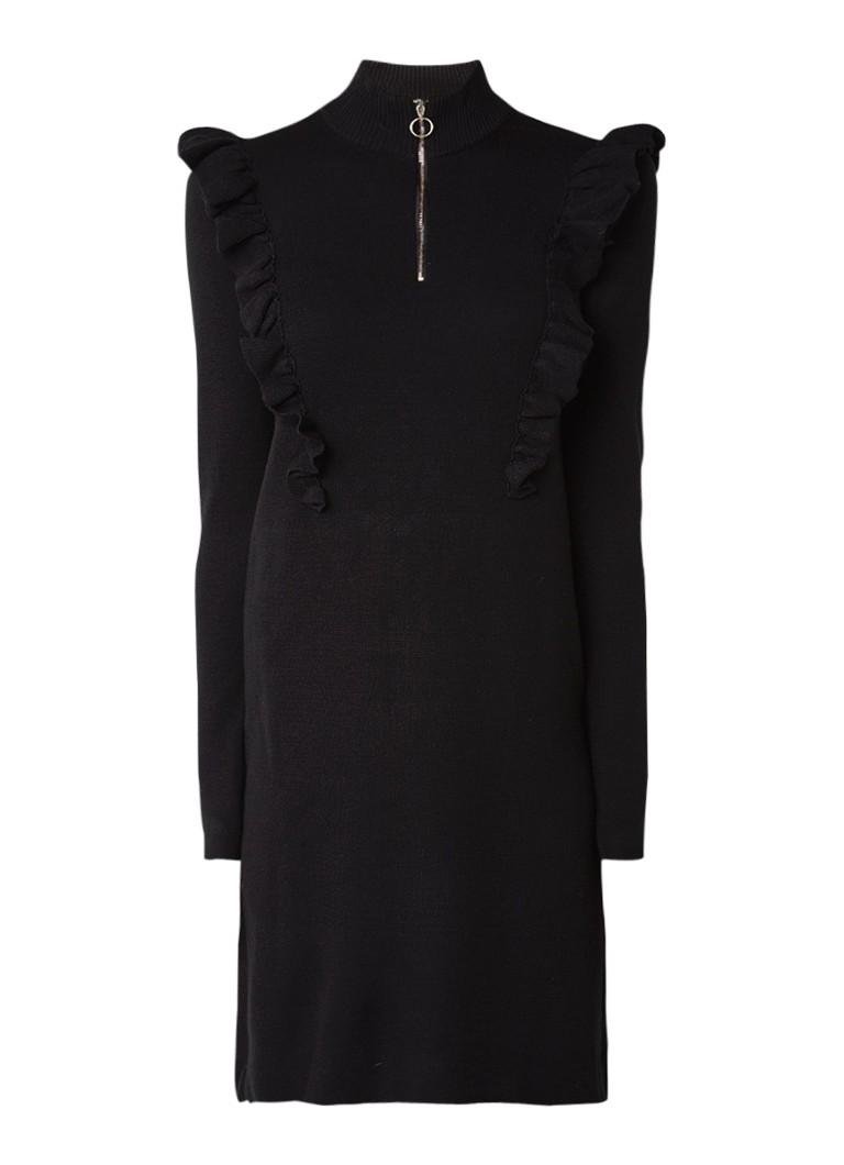 Gestuz Fijngebreide midi-jurk met volant zwart