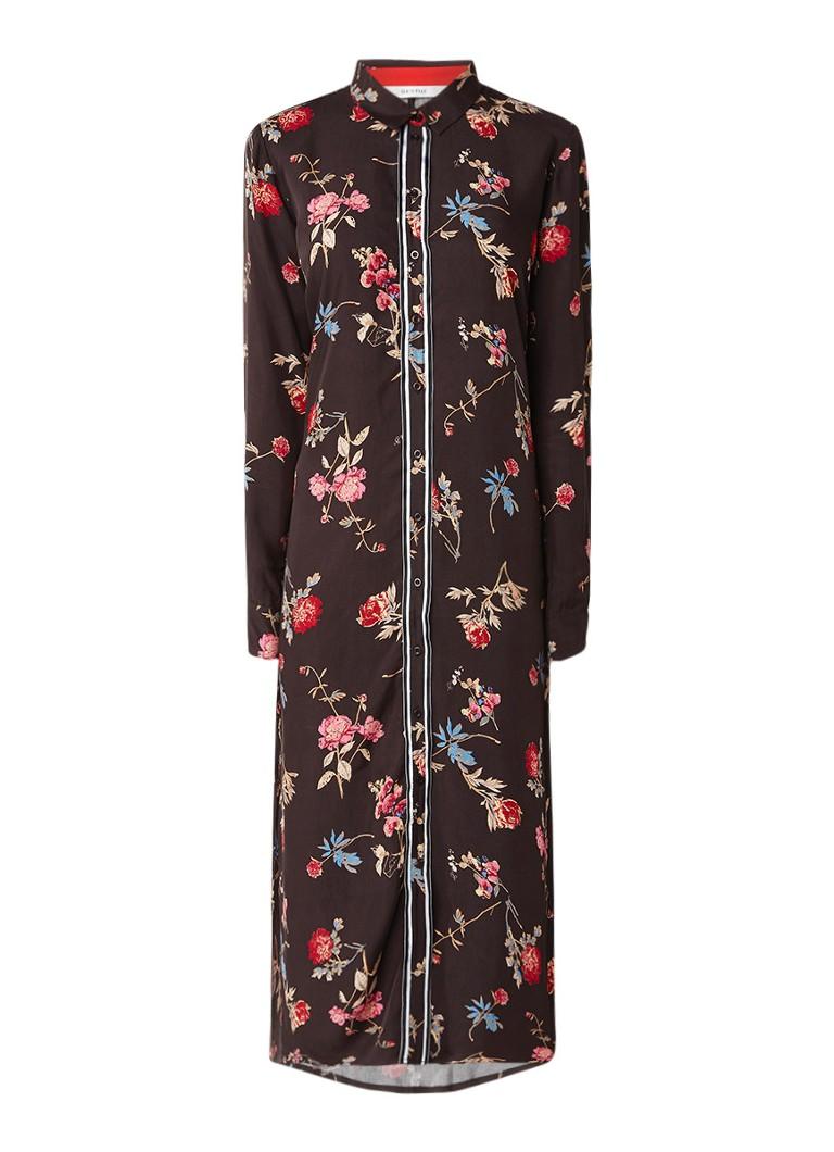 Gestuz Moxie maxi blousejurk met bloemdessin en strikceintuur donkerbruin