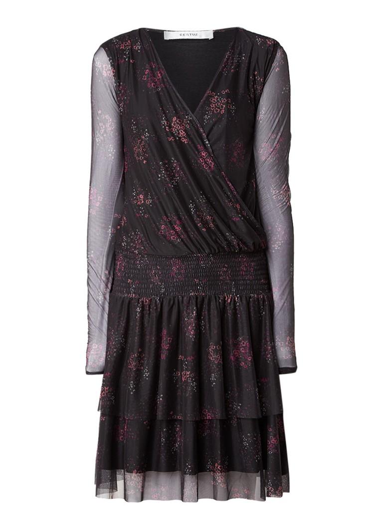 Gestuz Mesha gelaagde jurk met bloemendessin zwart