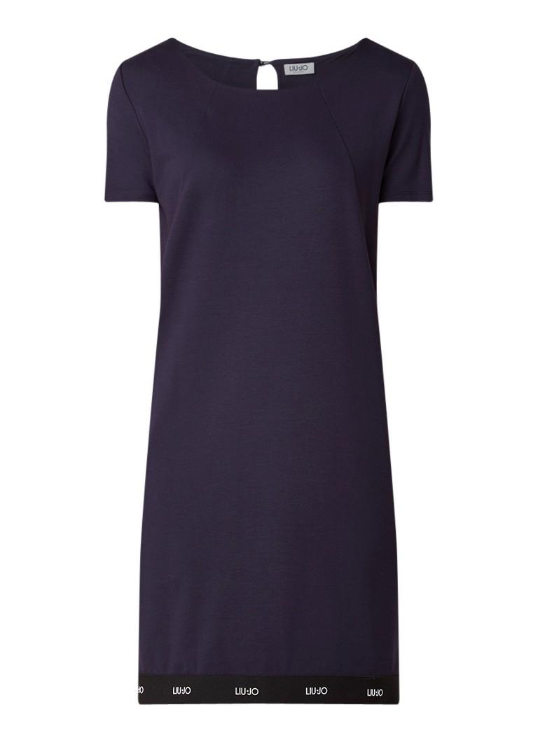 Liu Jo Midi-jurk van jersey met logotape donkerblauw