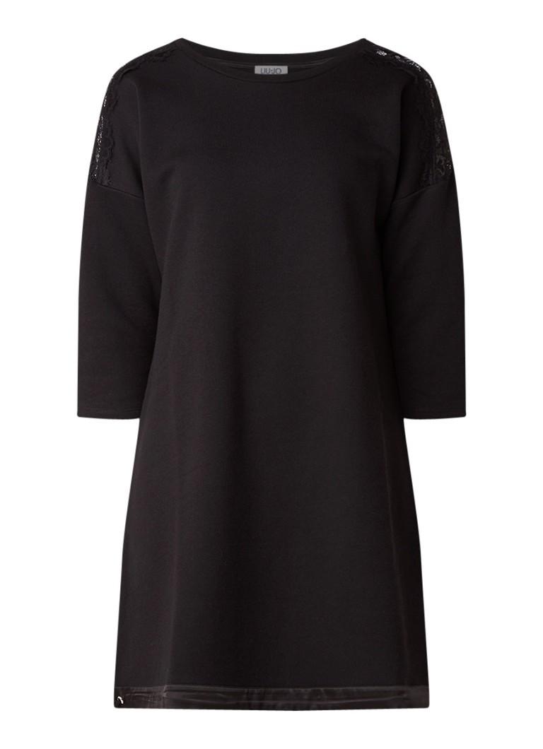 Liu Jo Sweaterjurk in katoenblend met inzet van kant zwart