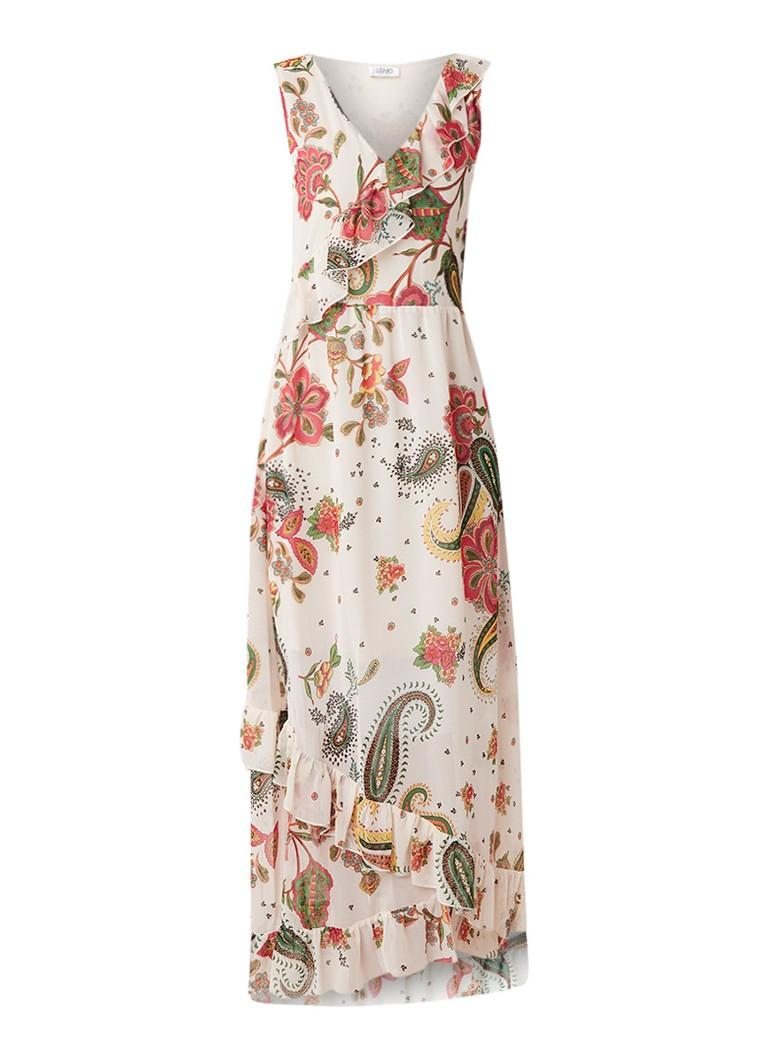 Liu Jo Maxi-jurk met bloemendessin en ruches beige