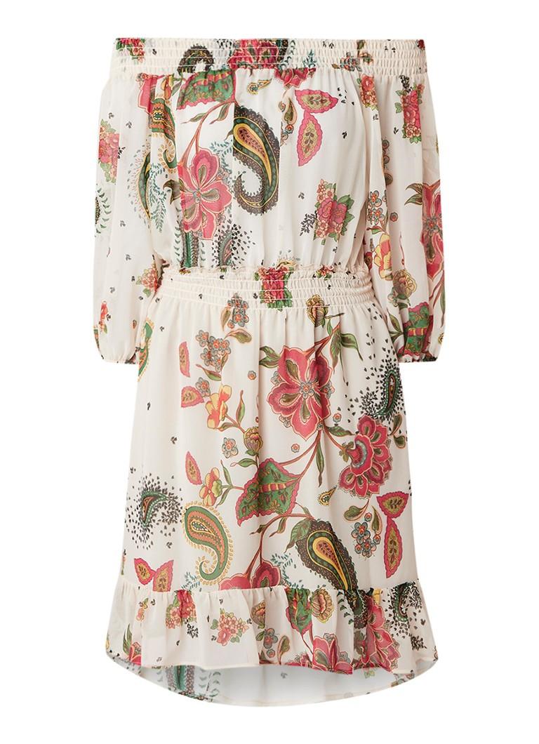 Liu Jo Off-shoulder jurk met bloemenprint beige