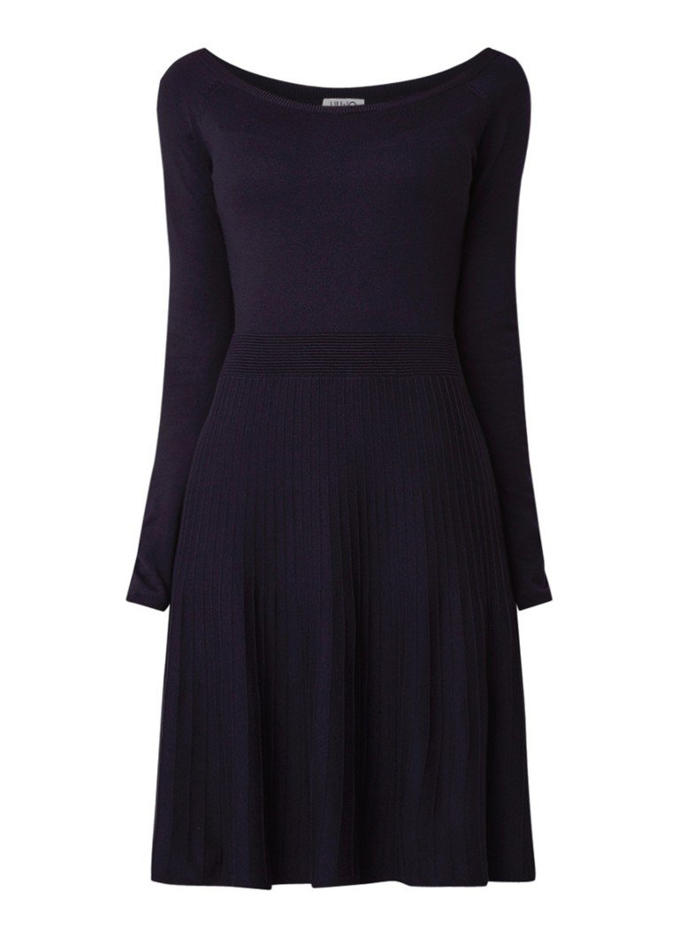 Liu Jo Fijngebreide A-lijn jurk met boothals donkerblauw