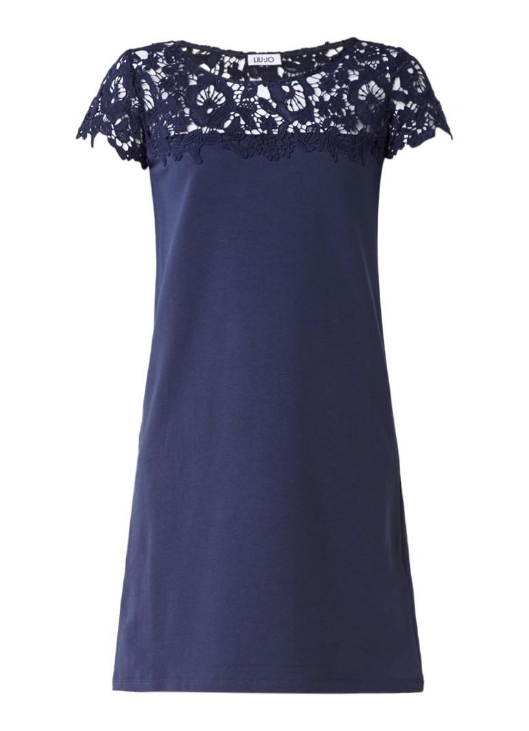 Liu Jo Duiker jurk met bovenzijde van kant blauw